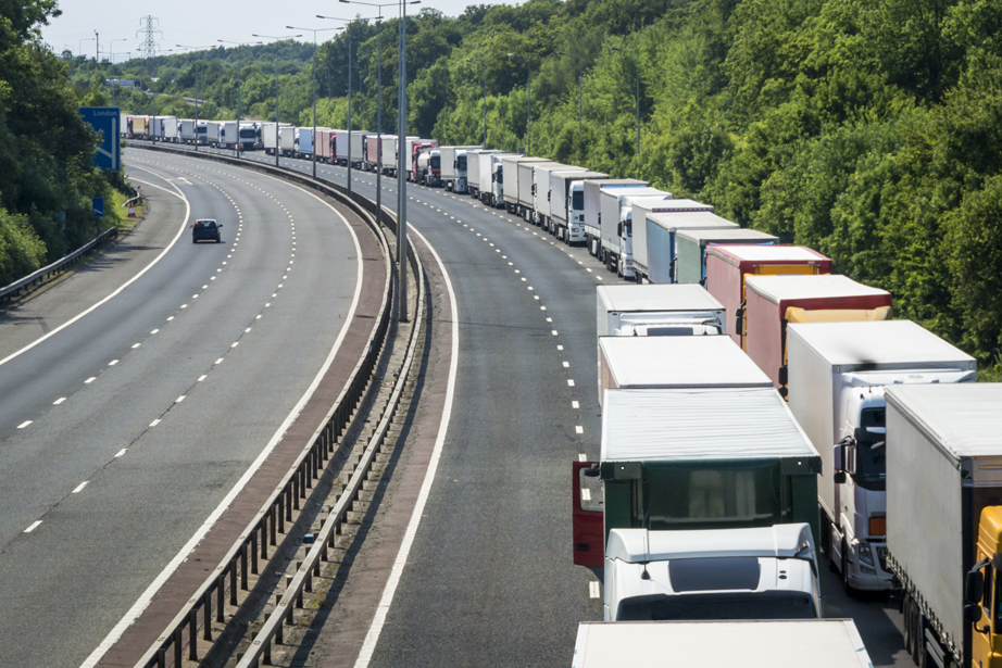 A-Line-of-Lorries-Parked-on-the-M20-Motorway-in-Operation-Stack